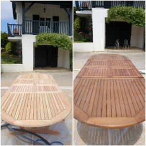 Aérogommage (sablage à sec) d'une table en bois pour la décaper au pays basque à urrugne